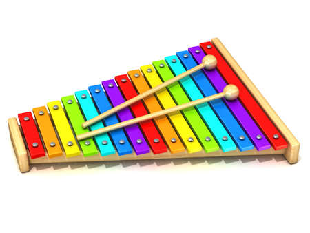 Xylophone with rainbow colored keys and with two wood drum sticks. 3D render isolated on white background. Wooden toy. Percussion instrument. Music art creation conceptの写真素材