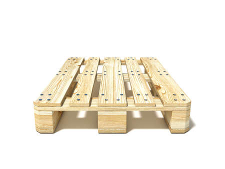 Euro pallet. Front view. 3D render illustration isolated on white background