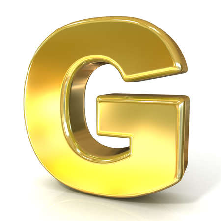Golden font collection letter - G. 3D render illustration, isolated on white background.