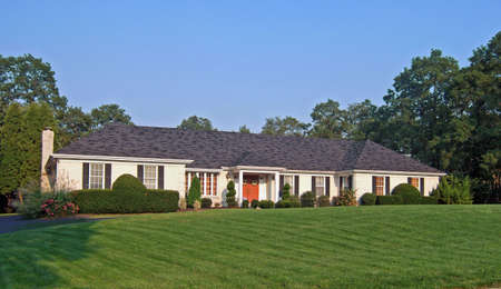 An elegant ranch style home in the northeastern part of the United States.