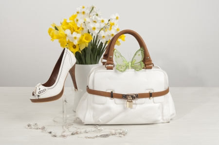 Photo for shes and bag - Royalty Free Image