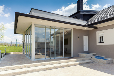 Photo for glazed terrace in the countryside with sliding glass - Royalty Free Image
