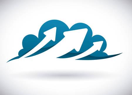Illustration pour Cloud computing design over white background - image libre de droit