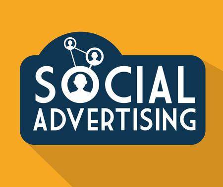 Illustration pour Social advertising concept with digital marketing design, vector illustration 10 eps graphic - image libre de droit