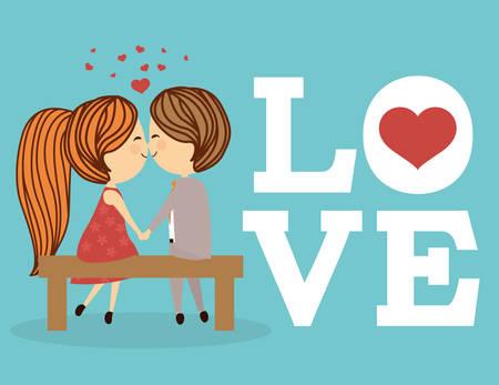 Illustration pour Love concept with cute icons design, vector illustration 10 eps graphic. - image libre de droit