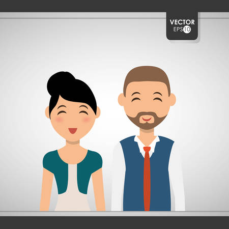 Family concept with couple icon design