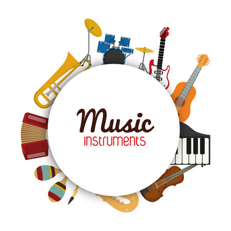Illustration pour Music instrument concept represented by icon set in circle  over flat and isolated background - image libre de droit