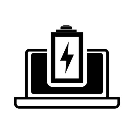 battery laptop power technology gadget icon. Flat and Isolated design. Vector illustration