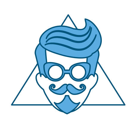 Illustration for hipster manblue tone emblem icon image vector illustration design - Royalty Free Image