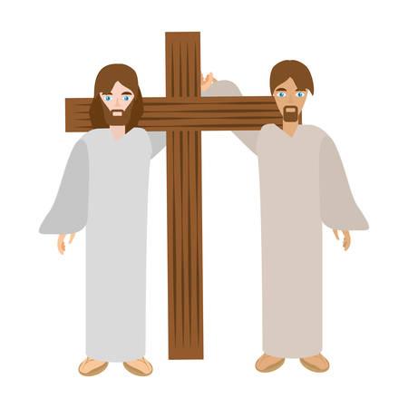Illustration for simon help jesus carry cross- via crucis vector illustration eps 10 - Royalty Free Image