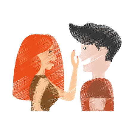 drawing couple caressing romantic vector illustration eps 10