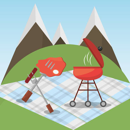 picnic grilled food blanket mountains vector illustration eps 10