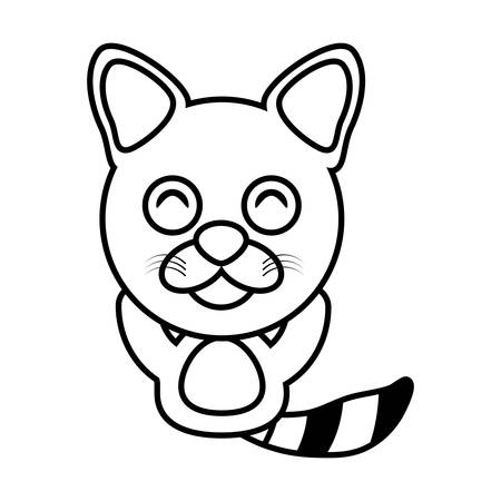 raccoon animal toy outline vector illustration eps 10