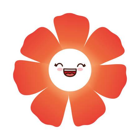 Kawaii flower icon over white background. vector illustration