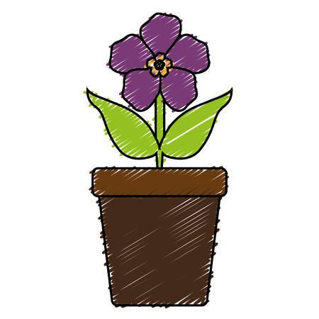 beautiful flower in a pot icon over white background. vector illustration