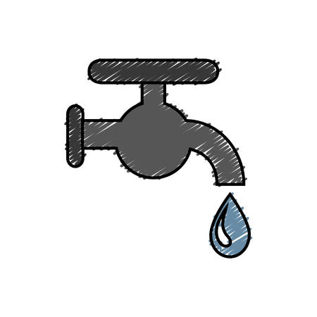 A water faucet icon over white background. vector illustration