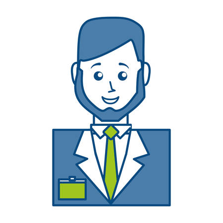 Cartoon Hotel Receptionist Man Icon Over White Background Vector Illustration Royalty Free Vector Graphics