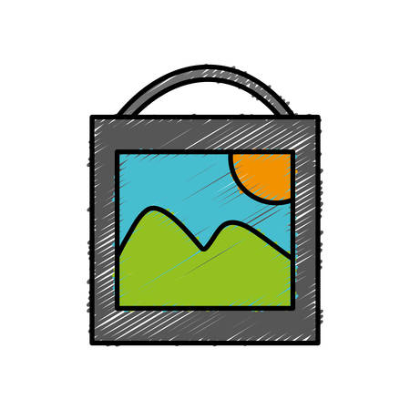 picture icon over white background vector illustration