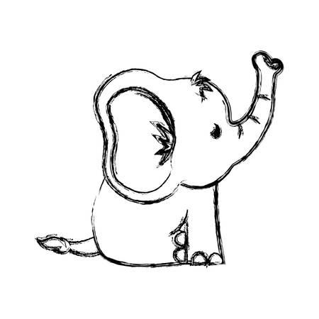 Ilustración de Cute elephant cartoon icon vector illustration graphic design - Imagen libre de derechos