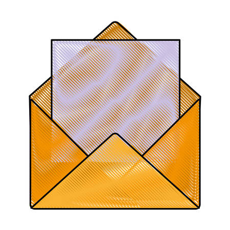 envelope and letter  icon over white background vector illustration