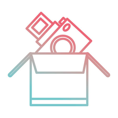 Box with photographic camera icon over white background vector illustration
