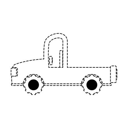 flat line uncolored safari vehicle sticker over white background vector illustration