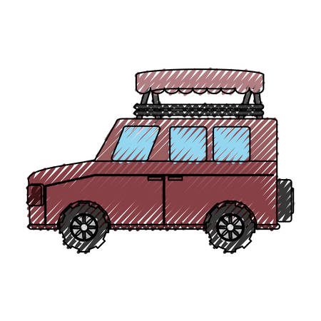 colored safari vehicle doodle over white background vector illustration
