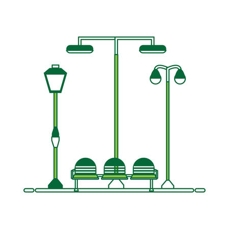 seats and street lamps