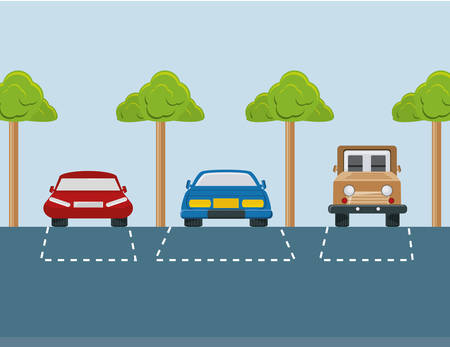 Ilustración de parking lot with parked cars colorful design vector illustration - Imagen libre de derechos