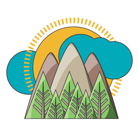 mountains landscape with sun and clouds icon over white background colorful design vector illustration