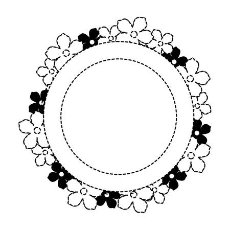 Circular frame with decorative flowers over white background illustration.