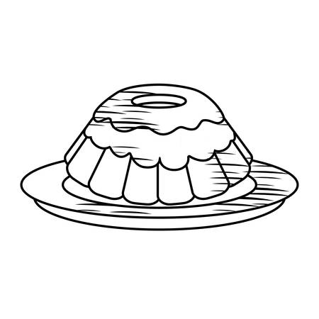 sketch of sweet cake icon over white background vector illustration