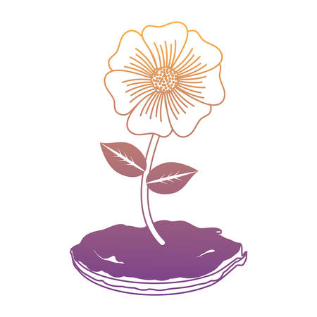 Flower plant icon over white background.