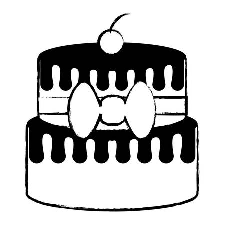 sketch of birthday cake icon over white background, vector illustration