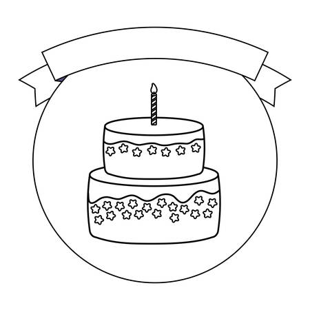 emblem with decorative ribbon and birthday cake with candles over white background, vector illustration
