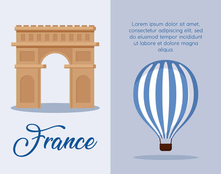 infographic of france culture and food over blue background, colorful design. vector illustration