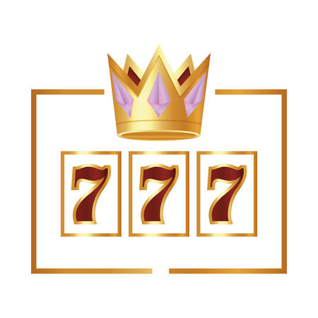casino poker jackpot seven crown award vector illustration