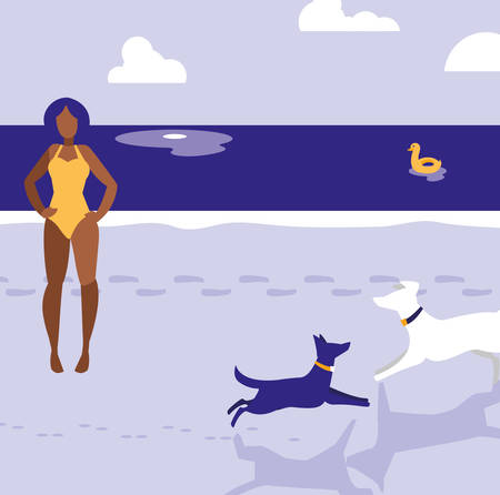 beach with dogs and woman in swimsuit, colorful design. vector illustration