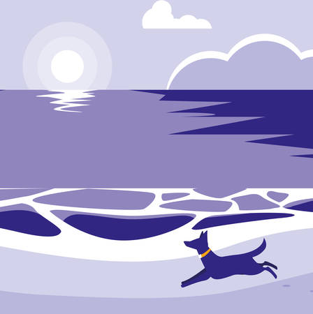 beach with dog running, colorful design. vector illustration