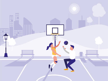 Illustration pour man and woman playing Basketball over park background, vector illustration - image libre de droit