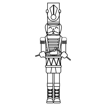 Ilustración de Christmas nutcracker icon over white background, vector illustration - Imagen libre de derechos