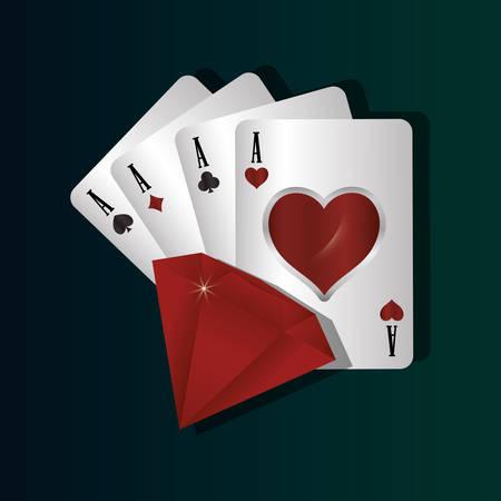 aces card diamond casino gamble vector illustration