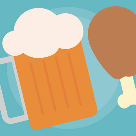 beer jar and Chicken thigh icon over blue background, vector illustration