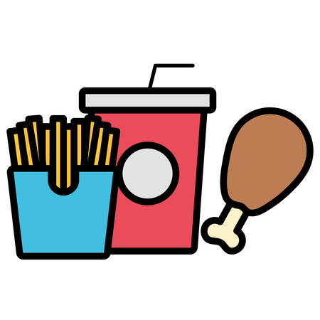 Chicken thigh with soft drink cup and french fries box over white background, vector illustration