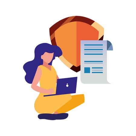 Illustration pour woman with laptop protection patent copyright vector illustration - image libre de droit