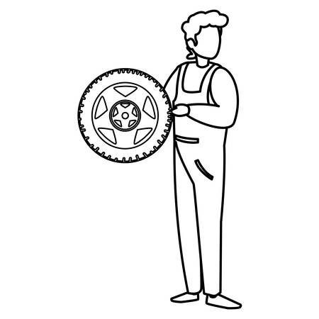 Illustration for mechanic worker with tire car vector illustration design - Royalty Free Image