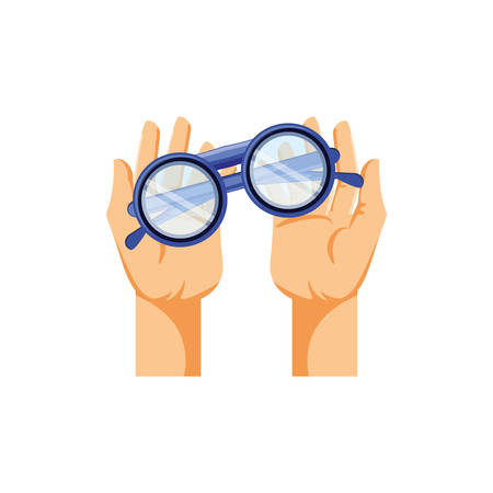hands with optical eyeglasses isolated icon vector illustration design