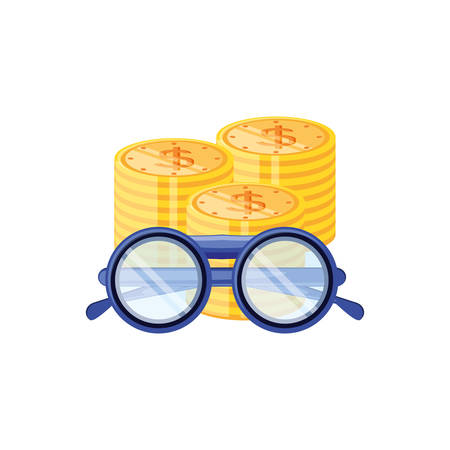 optical eyeglasses with pile coins vector illustration design