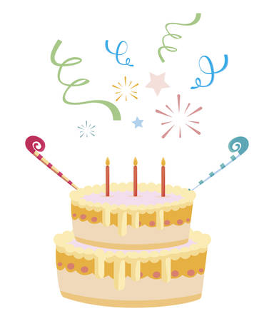 Illustration for sweet cake birthday with candles vector illustration design - Royalty Free Image