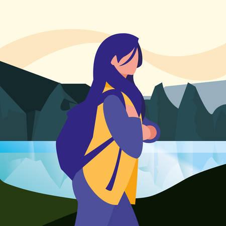 Illustration pour landscape natural with woman portrait vector illustration - image libre de droit
